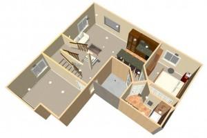 A 3D basement rendering from DesignYourBasement.com.